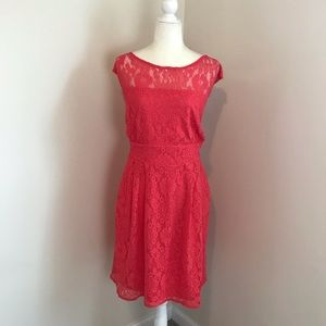 Lace Overlay Sleeveless Dress in Poppy Coral
